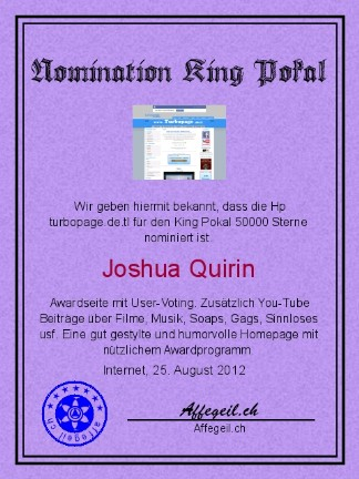 King Award Nominationsurkunde Turbopage