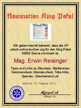 King Award Nominationsurkunde Urlaub-online-buchen