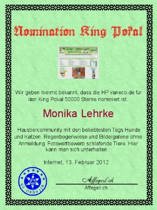 King Award Nominationsurkunde Varieco
