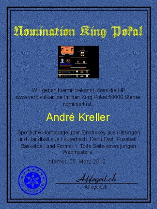 King Award Nominationsurkunde Verc Vulkan