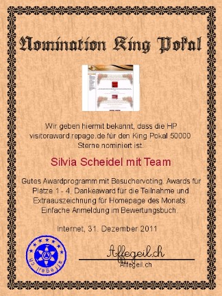 King Award Nominationsurkunde Visitoraward