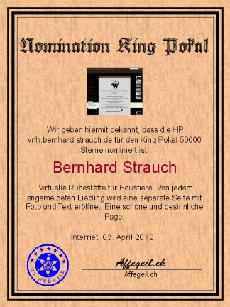 King Award Nominationsurkunde VRFH Bernhard Strauch