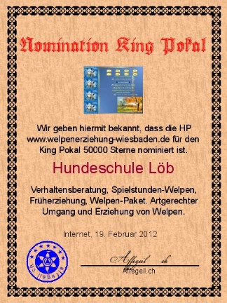 King Award Nominationsurkunde Welpenerziehung-Wiesbaden