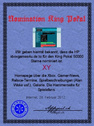 King Award Nominationsurkunde Xbosgames4u