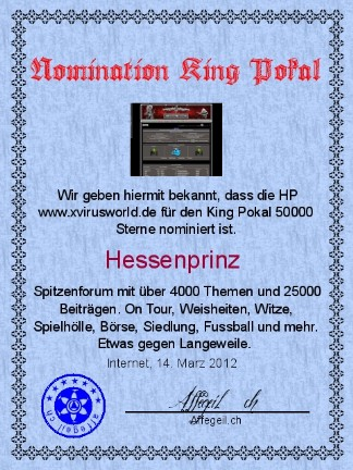 King Award Nominationsurkunde Xvirusworld